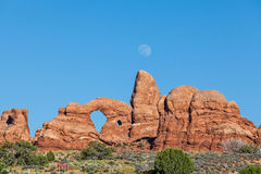 Moon Rising Over Turret Arch Stock Images