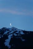 Moon Rising Over Whistler Blackcomb Stock Photo