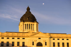 Moon Rising South Dakota State Capital Building Hughes County Pierre. The moon shines behind the capitol dome in Pierre, SD Stock Photos