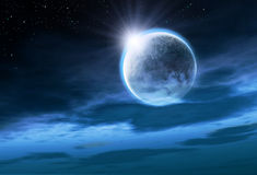 Moon with Rising Sun. Night sky with clouds and stars Stock Photography