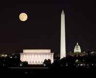 Moon rising in Washington DC Stock Photos