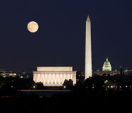 Moon rising in Washington DC Stock Images
