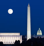 Moon rising in Washington DC Royalty Free Stock Photo