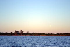 Moon and River. Moon, river, forest at colon Entre Rios Royalty Free Stock Photo