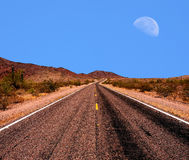Moon and road Stock Photo