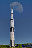 Moon Rocket. At the Space and Rocket in Huntsville, AL,center is a full size Saturn V Rocket.  Erected in 1999, this was the rocket that carried man to the moon Stock Image