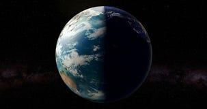 Moon a rotação em torno da terra e da rotação da terra Dia e noite ciclo, animação rendição 3d ilustração stock