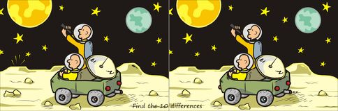 Moon rover-find 10 differences stock illustration