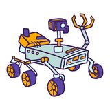 Moon rover icon, hand drawn style royalty free illustration