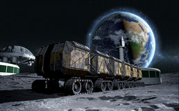 Moon rover on the moon. space expedition. moon surface. 3d rendering royalty free illustration