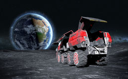 Moon rover on the moon. space expedition. moon surface. 3d rendering vector illustration