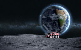 Moon rover on the moon. space expedition. moon surface. 3d rendering stock illustration