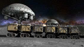 Moon rover on the moon. space expedition. moon surface. realistic 3d animation