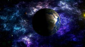 Moon`s movement around the Earth in space stock footage