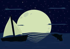 Moon's reflection on the sea in the starry night beautiful illustration background Stock Images