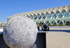 City of Arts and Sciences, Astronomy Garden, Valencia, Spain. The Moon`s sphere in the Astronomy Garden, which is part of City of Arts and Sciences, in Valencia stock image