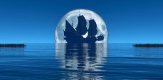 moon and sailing ship Stock Photo