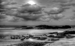 Moon on Sawtell Beachl, Australia Royalty Free Stock Image