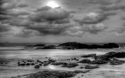 Moon on Sawtell Beachl, Australia. A view of moonlight beach of Sawtell, Australia Royalty Free Stock Image