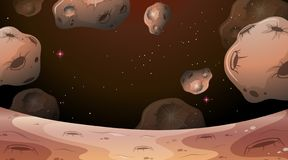 Moon scene with asteroids. Illustration vector illustration