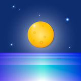 The moon and the sea. Full blue moon over cold night water vector Royalty Free Stock Photo