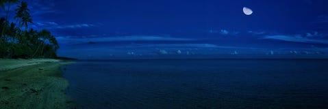 Moon & Sea. Mid night in Fiji stock photo