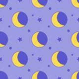 Moon seamless pattern child background with stars on purple Flat design. Illustration Stock Photos