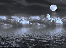 Moon Seascape Stock Photos