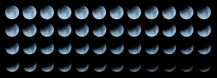 Moon sequence: progressing total lunar eclipse Royalty Free Stock Image