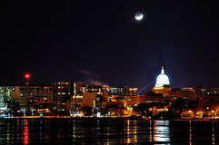 Moon set over Madison Royalty Free Stock Photography