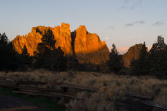 The Moon Sets as Sun Rises on Smith Rock Oregon Royalty Free Stock Photo