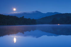 Moon Setting Price Lake, Blue Ridge Parkway NC Stock Photos