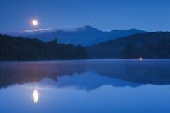 Moon Setting Price Lake, Blue Ridge Parkway NC stock photos