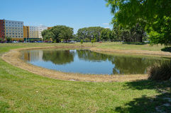 A moon-shape pond (lake)  Royalty Free Stock Images