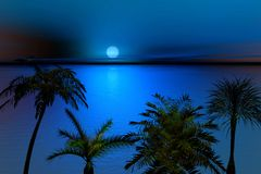 Moon shining over blue sea royalty free stock images