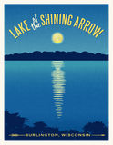Moon shining reflection on lake travel poster. Moon shining reflection on calm lake. Travel poster retro design Stock Images