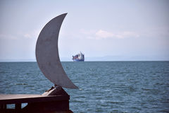 Moon and ship Royalty Free Stock Image