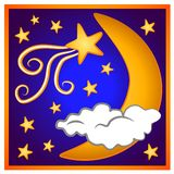 Moon Shooting Star Clip Art 2. A moon and stars clipart image in gold blue and white with an astrological feel Stock Photo