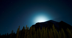 Moon Silhouettes Mountain Range Royalty Free Stock Image