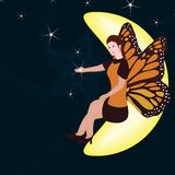 Moon sit fairy star friend Stock Images