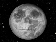 Moon Skull. A skull on the full moon symbolizing runaway imaginations, bad omens, and storytelling and  ominous signs/symbols Royalty Free Stock Photos