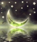 Moon in sky. Illustration of a night sky with fantastic moon Royalty Free Stock Photography