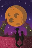 Moon on sky and cats on the roof Stock Photography