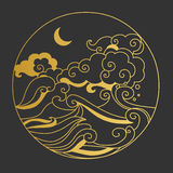 Moon in the sky over the sea. Decorative graphic design element. Vector gold& black illustration in oriental style Royalty Free Stock Photography