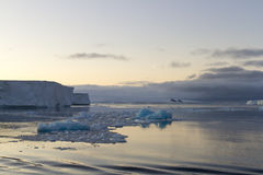 Moon in sky over tabular icebergs, Antarctic Sound. Moon on summer night over calm waters of Antarctic Sound Stock Images