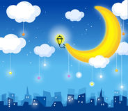 Moon and skyline. Moon and clouds in the night sky and city Stock Images