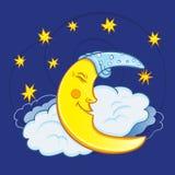 Moon sleeping on a cloud with stars in the night sky. Cute cartoon moon. stock illustration