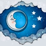 Moon Sleeping In The Clouds. And Stars-transparency blending effects and gradient mesh-EPS 10 Royalty Free Stock Photos