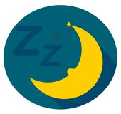 Moon sleeps well and snores. The moon sleeps very well. Cute and simple illustration of a snoring moon. Clean design Stock Image