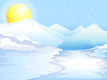 A moon and snow mountains Stock Image